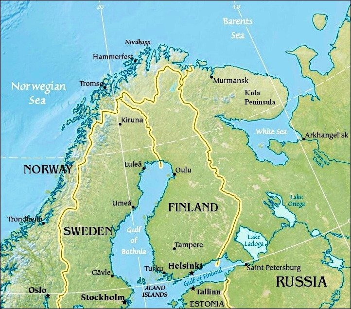 Map Norway Russia New Cold War Ukraine And Beyond - Norway lakes map