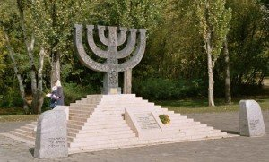 Memorial in Kyiv to Babi Yar massacre by Nazis on Sept. 29, 30, 1941