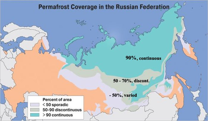 Russias permafrost map by National Snow and Ice Data Center