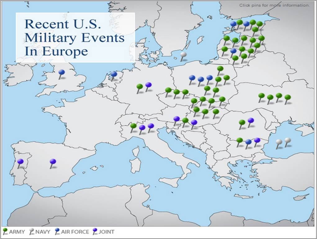 Map of Operation Atlantic Resolve the permanent US military