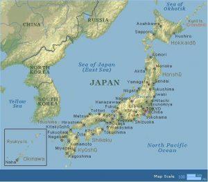 Map of Japan showing Okinawa island chain