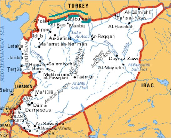 Map of Syria showing cities of Manbij and Jarablus near Turkish