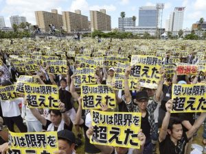 'Our anger has reached its limit', read signs at June 19, 2016 protest in Okinawa, Japan (Uematsu Ryosuke, AP)