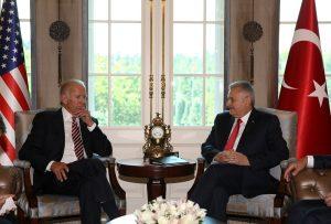 Turkish Prime Minister Binali Yildirim (R) meets with U.S. Vice President Joe Biden in Ankara, Turkey, August 24, 2016 (Prime Minister's Press Office)