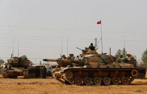Turkish tanks and APCs at Karkamis, Turkey on Syria border on Aug 25, 2016 (Umit Bektas, Reuters)