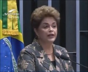 Brazil's elected president Dilma Rousseff addresses Brazil Senate impeachment spectacle on August 29, 2016