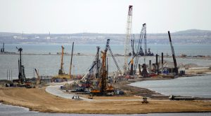 Construction of bridge to Crimea as viewed from Russian mainland (Andrew Osborn, Reuters)