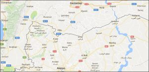 Map of northern Syria; Jarablus and Al Rai are app 60 km apart