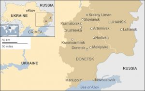 Map showing historic borders of Donetsk and Lugansk, since divided by Kyiv's civil war launched in 2014 (map image by BBC)