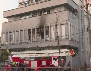 Office and studio of Ukraine's Inter TV in Kyiv following arson attack on Sept 4, 2016