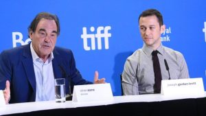 Oliver Stone (L) and 'Snowden' lead actor Joseph Gordon-Levitt at press conference on Sept 10, 2016 one day after film's world premiere at Toronto Int'l Film Fest (Evan Agostini, AP)