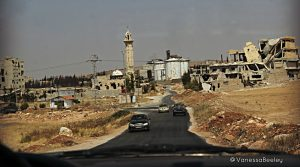 On the road to Aleppo, passing through Khanaser, al-Safira, and the industrial city of Sheikh Najjar on the road to Aleppo (photo by Vanessa Beeley)