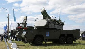 Photo of part of Russian BUK missile system at arms show in Moscow several years ago; the unit consists of missile launcher and a distinct radar targeting unit