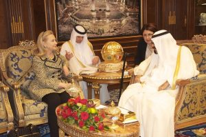 Then-U.S. Secretary of State Hillary Clinton meeting with Saudi King Abdullah in Riyadh on March 30, 2012 (State Dep't photo)