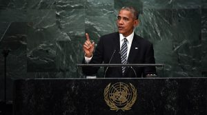 U.S. President Barack Obama addresses the 71st session of the UN General Assembly in New York on Sept 20, 2016 (Jewel Samad / AFP)
