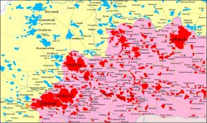 Zones of sharpest attacks by Kyiv in its civil war in eastern Ukraine (from Wikipedia)