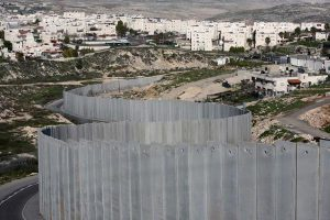 Israel's apartheid wall separating nominal Palestinian territories from Palestinian territories occupied outright by Israel