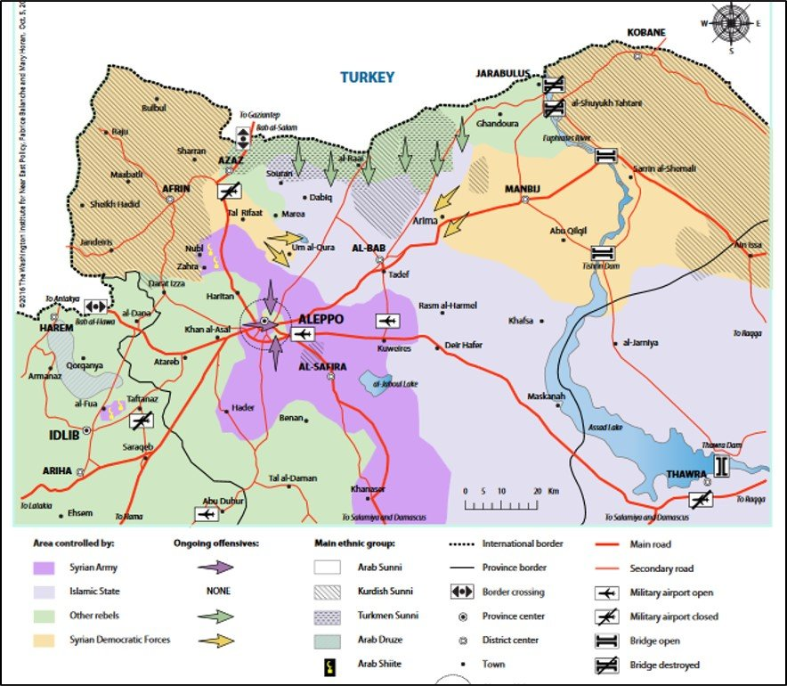situation map of northern syria on oct 5 2016 map by washington institute