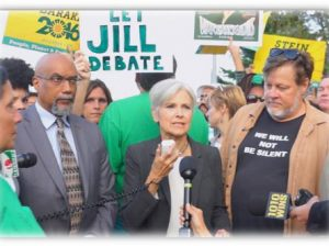 U.S. Green Party candidates Ajamu Baraka (L) and Jill Stein