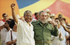 Nelson Mandela and Fidel Castro in Matanzas, Cuba in July 1991. It was Mandela's first foreign visit after release from prison in 1990