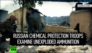 Russian soldiers examine chemical weapon use by U.S.-backed 'rebels' in Aleppo