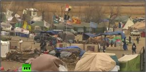 'Water protectors' encampment against Dakota Access Pipeline pictured in late November 2016 (from RT's 'On Contact')