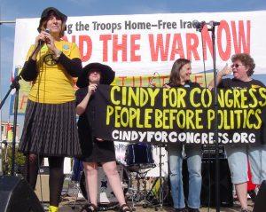 Cindy Sheehan at antiwar rally in San Francisco in 2007