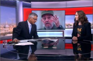 Dr. Helen Yaffe discusses the history of the Cuban Revolution on BBC on Nov 26, 2016 (BBC screenshot)