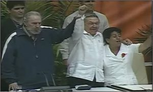 Fidel and Raul Castro join singing 'The Internationale' at closing of 6th congress of the Cuban Communist Party in April 2011