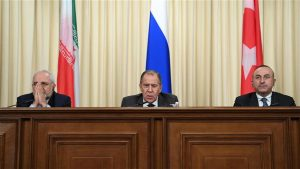L to R, foreign ministers of Iran, Russia and Turkey hold news conference in Moscow on Dec 20, 2016 (photo by AFP)