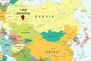 Map showing Lake Karachay, Russia