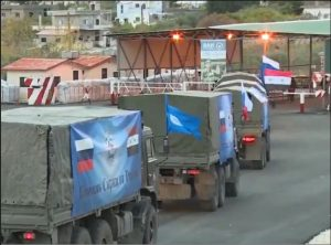 One of the many Russian aid convoys delivering aid to Aleppo and other cities in Syria (photo by Inside Syria News Agency)