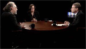 Panel discussion on Cuba on 'Charlie Rose' program Nov 28, 2016. L to r, Peter Kornbluh, Julia Sweig, guest host Jeffrey Goldberg