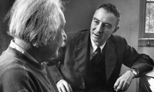 Robert Oppenheimer talking to Albert Einstein in 1947 (Time Life Pictures-Getty)