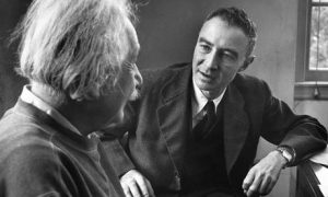 Robert Oppenheimer talking to Albert Einstein in 1947 (Time Life Pictures-Getty)