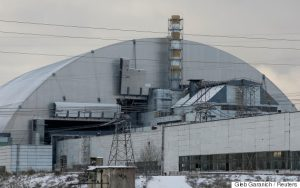 The New Safe Confinement (NSC) structure covers the old sarcophagus surrounding the damaged fourth reactor at the Chernobyl nuclear power plant, in Chernobyl, Ukraine. (Gleb Garanich, Reuters)