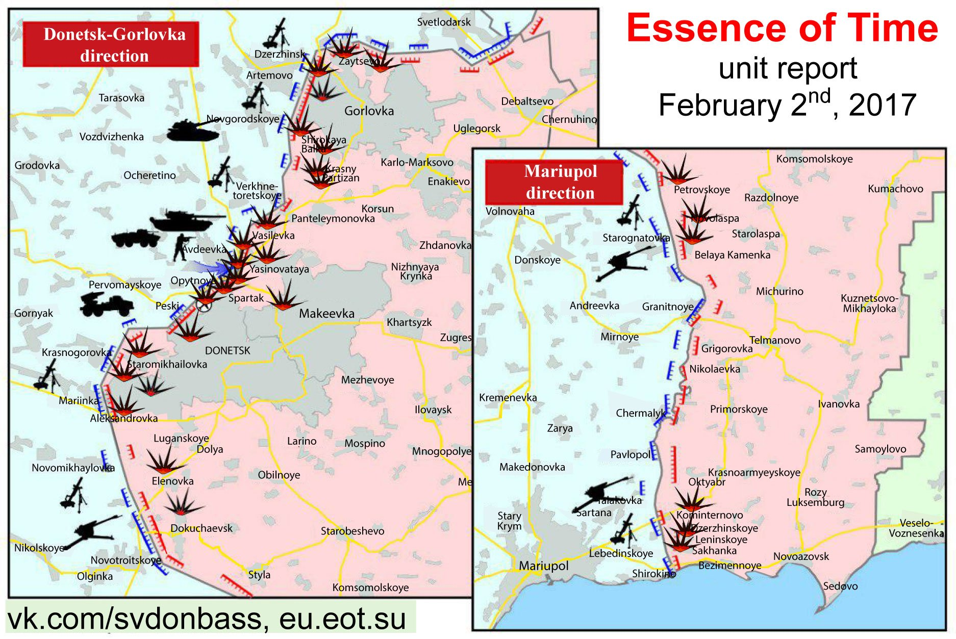 Map of contact line separating Ukraine from the Donetsk Peoples