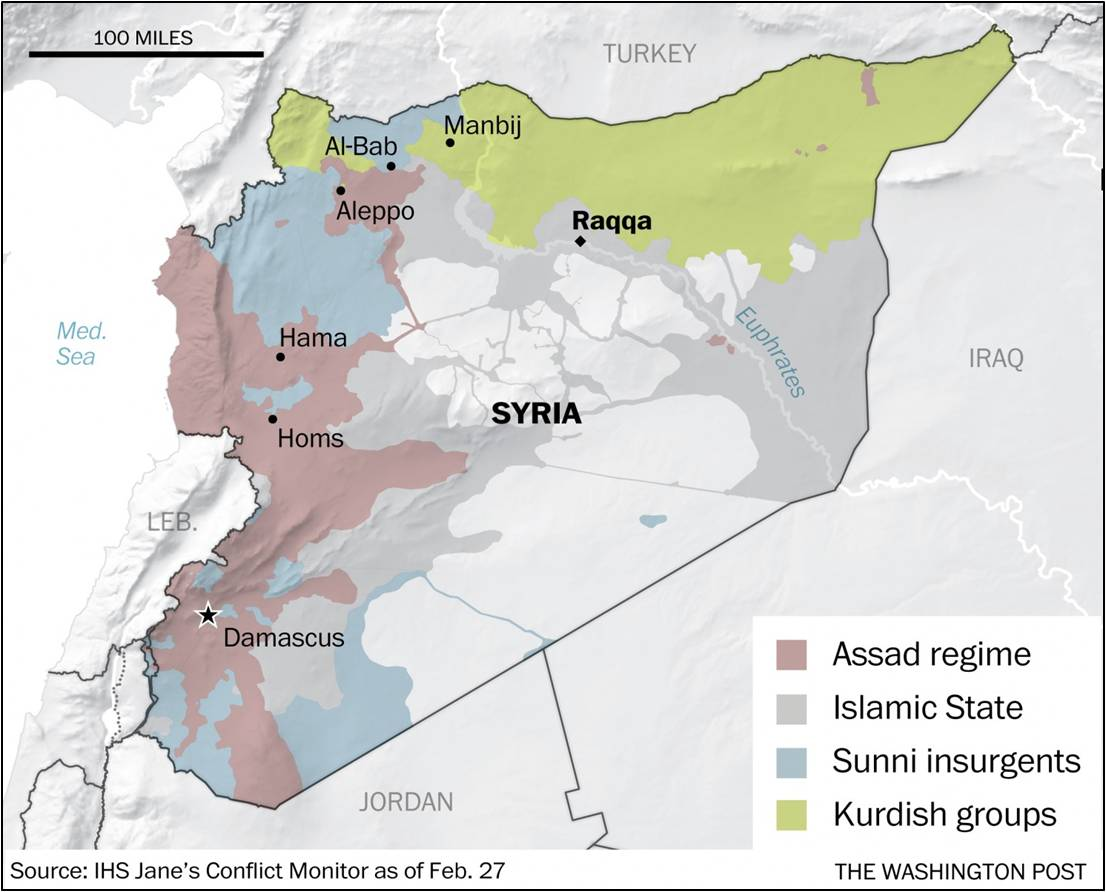 Image result for March 2017 map of syria kurds and islamic state controlled