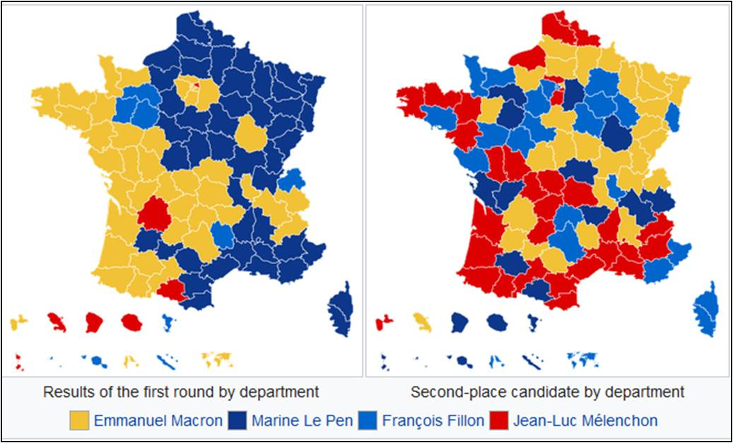 Map Of France Election Results.French Presidential Election Round One Map April 23 2017