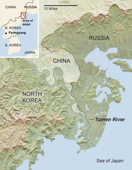 Russia raises defense alert after north korea launches missile map of eastern border of northern korea map by joe burgess new york times gumiabroncs Gallery