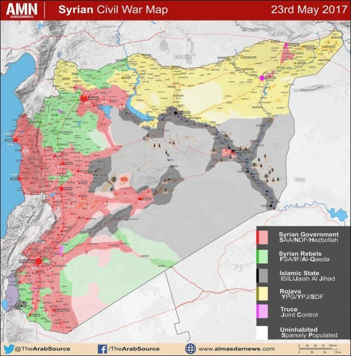 map of territorial control in syria as of may 23 2017 al masdar news