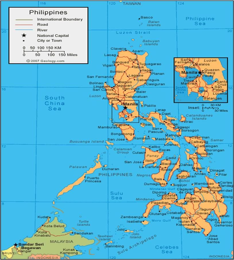 Map of the Philippines Mindinao is the large southern island New
