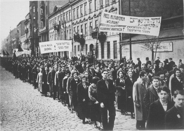 Demonstration by the Jewish workers socialist Bund in Warsaw in 1936.