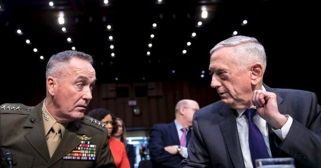 As this site consistently notes, opposition to the US strategic position in the Middle East is not confined to leftists, Putin-lovers and cult bloggers. Divisions go deep into the US elites and in particular its military, who no matter how much they wish to inflict unlimited damage on anyone who stands in the way of the United States, it's not always practical to do so given the military and economic power of its chosen adversaries. The military contains a 'practical' wing which, faced with the military successes of its opponents, has to recognise the potential consequences of all-out war with them. It is therefore noteworthy that 'Mad Dog' Mattis, the most gung-ho advocate of exercising US military power in the Trump camp, was the most senior military figure to question the wisdom of breaking from the Iran deal